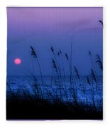 Grasses Frame The Setting Sun In Florida Fleece Blanket
