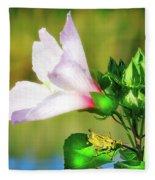 Grasshopper And Flower Fleece Blanket