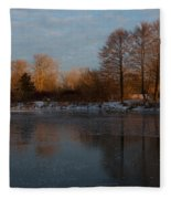 Gray And Amber - An Early Winter Morning On The Lake Shore Fleece Blanket