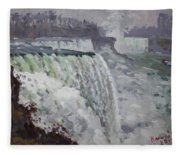 Gray And Cold At American Falls Fleece Blanket
