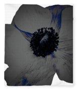 Gray Blue Poppy Fleece Blanket