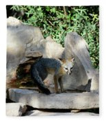 Gray Fox 4 Fleece Blanket