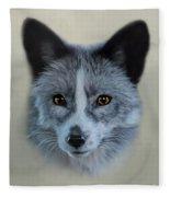 Gray Fox Head Study Fleece Blanket