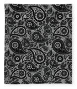 Gray Paisley Design Fleece Blanket