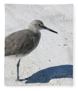 Gray Sandpiper On White Beach Fleece Blanket