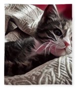 Gray Tabby With White Quilted Throw Fleece Blanket