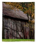 Gray Weathered Barns Number Three Fleece Blanket