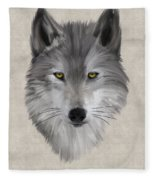 Gray Wolf Fleece Blanket