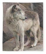Gray Wolf Profile Fleece Blanket