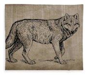 Gray Wolf Timber Wolf Western Wolf Woods Texture Fleece Blanket