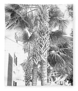 Grayscale Palm Trees Pen And Ink Fleece Blanket