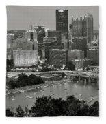Grayscale Pittsburgh Fleece Blanket