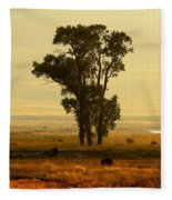 Grazing Around The Tree Fleece Blanket
