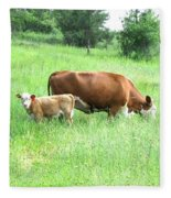 Grazing Cow And Calf Fleece Blanket