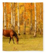 Grazing Horse In The Autumn Pasture Fleece Blanket