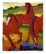 Grazing Horses Iv The Red Horses 1911 Fleece Blanket