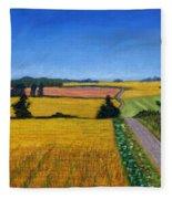 Great Bedwyn Wheat Fields Painting Fleece Blanket