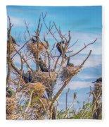 Great Black Cormorants Colony - Danube Delta Fleece Blanket