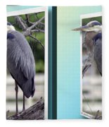 Great Blue Heron - Gently Cross Your Eyes And Focus On The Middle Image Fleece Blanket