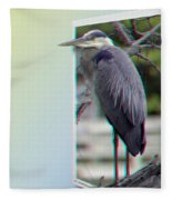 Great Blue Heron - Red-cyan 3d Glasses Required Fleece Blanket