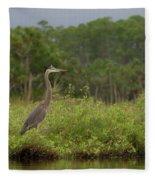 Great Blue Heron Along Cedar Creek Fleece Blanket