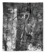 Great Blue Heron And Reflection-black And White Fleece Blanket