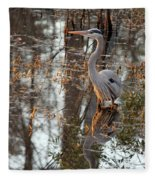 Great Blue Heron And Reflection Fleece Blanket