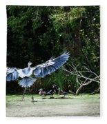 Great Blue Heron And Wood Ducks Fleece Blanket