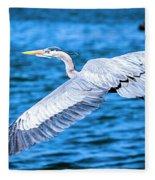 Great Blue Heron Flight Fleece Blanket