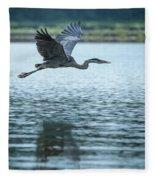 Great Blue Heron Flying Fleece Blanket