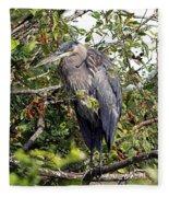 Great Blue Heron In A Tree Fleece Blanket