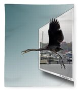 Great Blue Heron In Flight Fleece Blanket