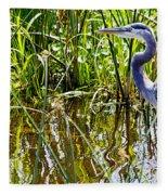 Great Blue Heron In The Wetlands Fleece Blanket
