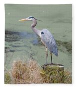 Great Blue Heron Near Pond Fleece Blanket