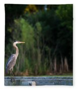 Great Blue Heron On A Handrail Fleece Blanket