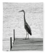 Great Blue Heron On Dock - Keuka Lake - Bw Fleece Blanket