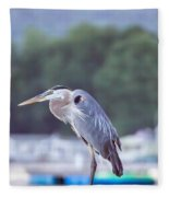 Great Blue Heron On Keuka Lake Horizontal Pano Fleece Blanket