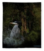 Great Blue Heron On The River Fleece Blanket