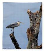 Great Blue Heron Perched Fleece Blanket