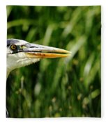 Great Blue Heron Portrait Fleece Blanket