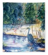 Great Blue Heron Square Cropped  Fleece Blanket