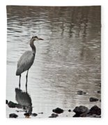 Great Blue Heron Wading 2 Fleece Blanket
