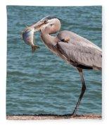 Great Blue Heron Walking With Fish #2 Fleece Blanket