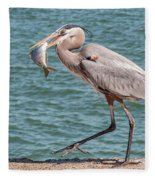 Great Blue Heron Walking With Fish #4 Fleece Blanket