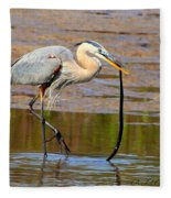 Great Blue Heron Wrestles A Snake Fleece Blanket