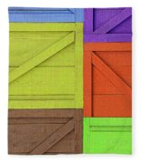 Great Crates - Multicolored Packing Boxes Stacked Fleece Blanket