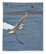 Great Egret Ascending Fleece Blanket