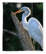 Great Egret At Rest Fleece Blanket
