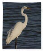 Great Egret In The Last Light Of The Day Fleece Blanket