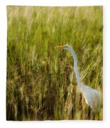 Great Egret In The Morning Dew Fleece Blanket